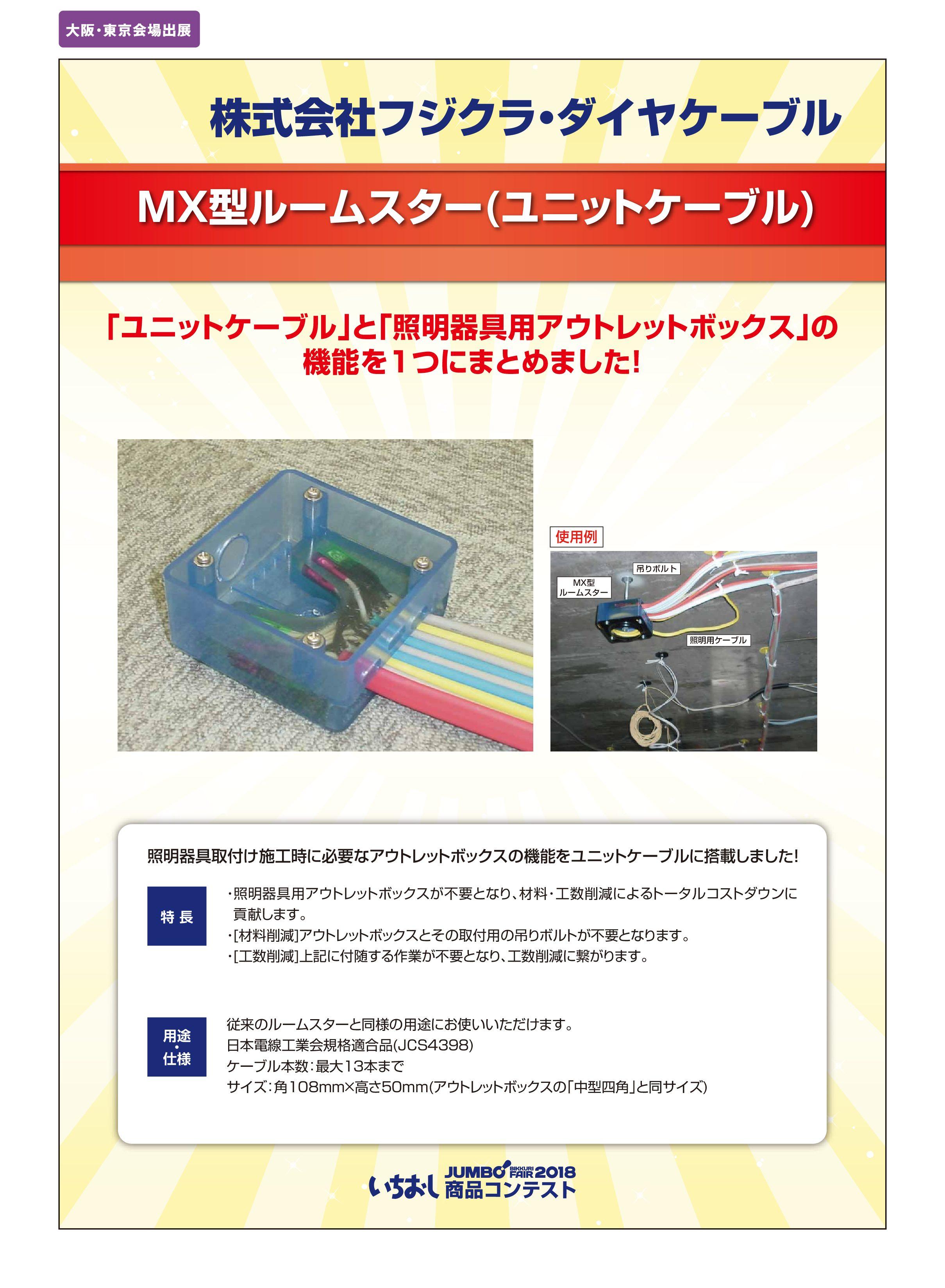 「MX型ルームスター(ユニットケーブル)」株式会社フジクラ・ダイヤケーブルの画像