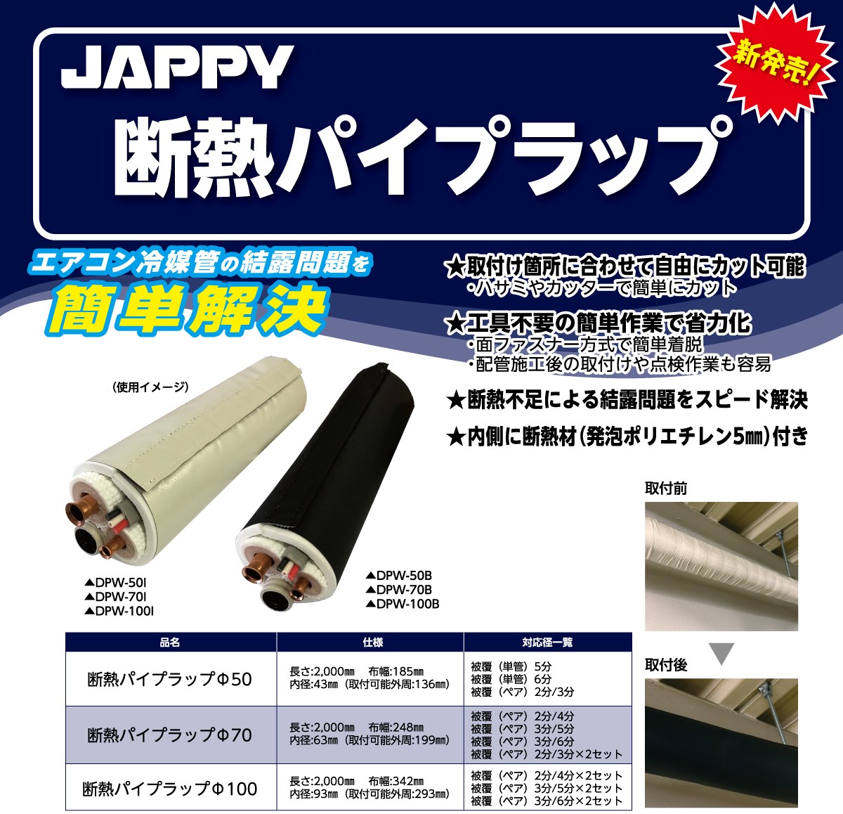 【JAPPY】エアコン冷媒管の結露問題を簡単解決!! 断熱パイプラップ新発売の画像