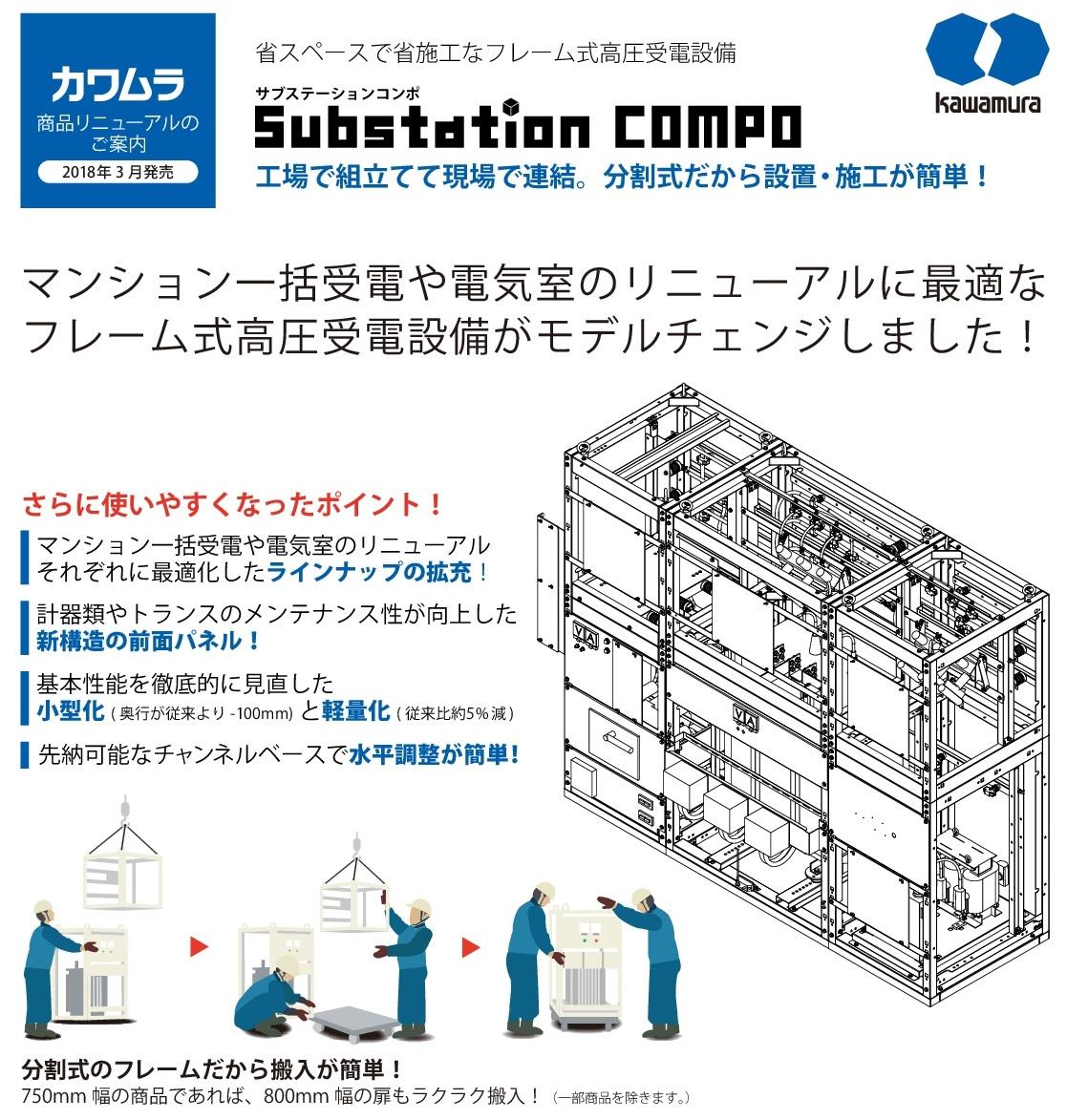 【河村電器産業】省スペースで省施工なフレーム式高圧受電設備 Substation COMPO(サブステーションコンポ)のご案内の画像