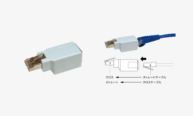 【ジェフコム】LANケーブルのストレートとクロスを簡単に変換できるアダプターを販売開始の画像