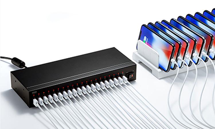 【サンワサプライ】スマートフォン20台充電可能なUSB充電器を販売開始の画像