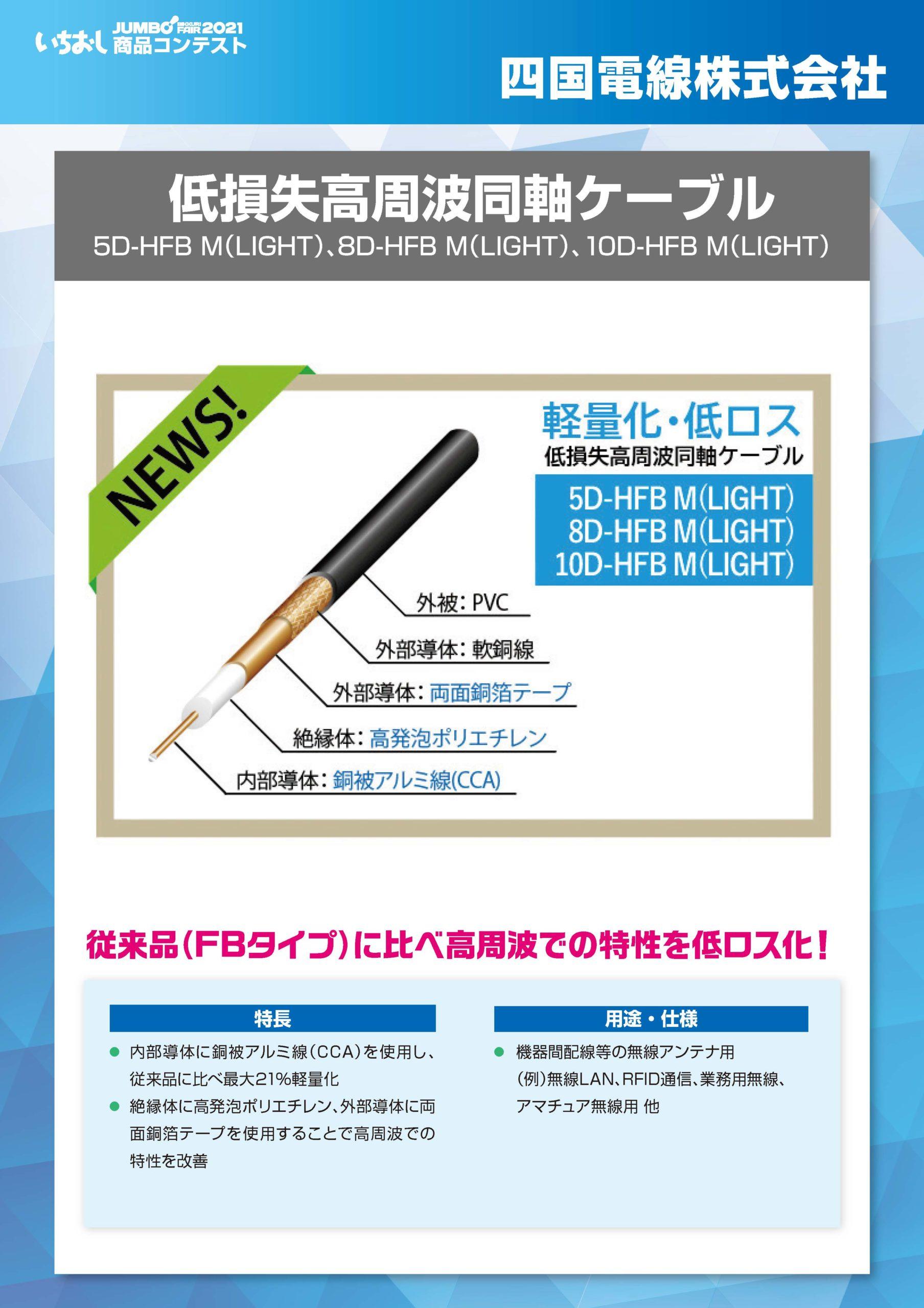 「低損失高周波同軸ケーブル」四国電線株式会社の画像