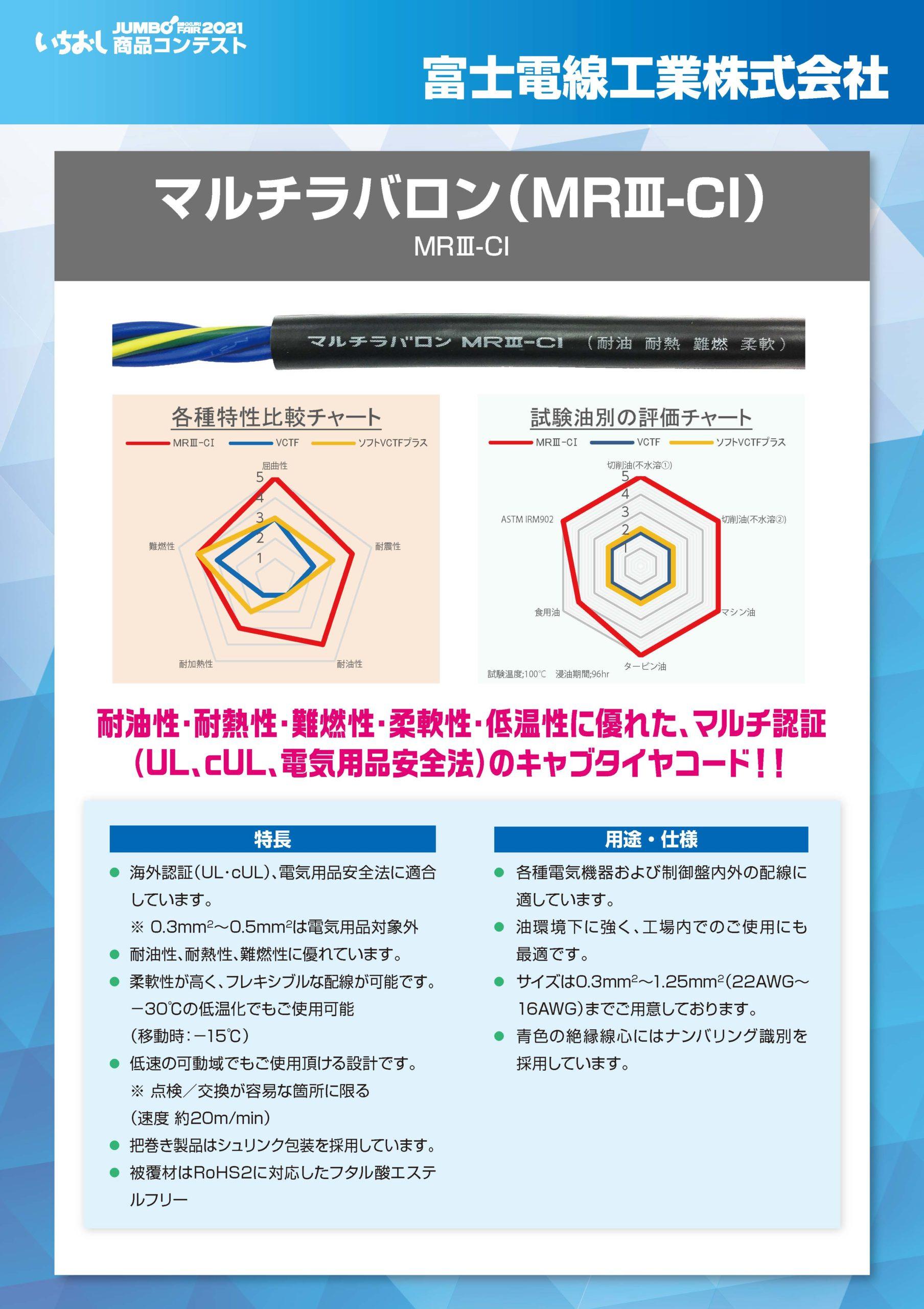 「マルチラバロン(MRⅢ-CI)」富士電線工業株式会社の画像
