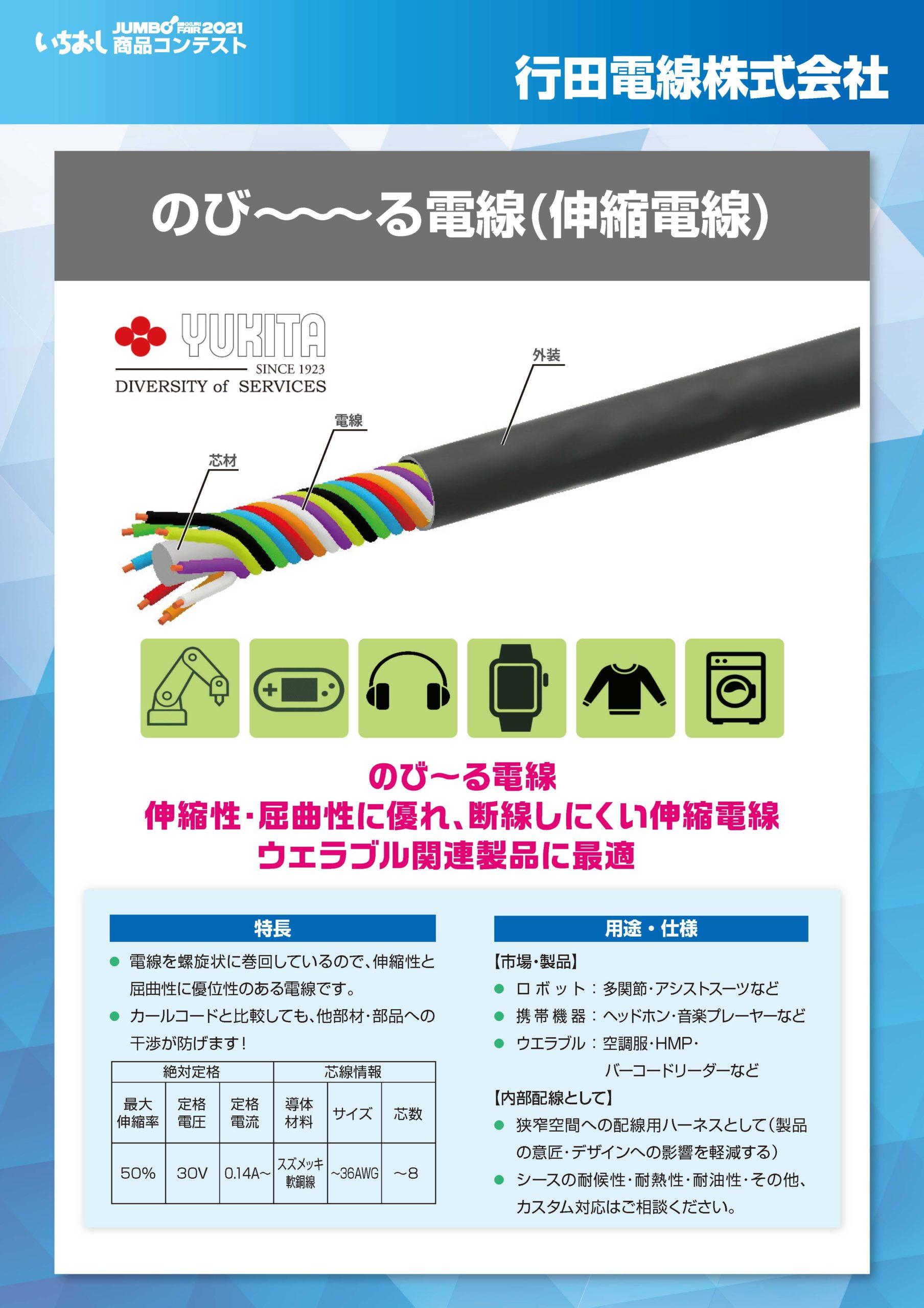 「のび~~~る電線(伸縮電線)」行田電線株式会社の画像