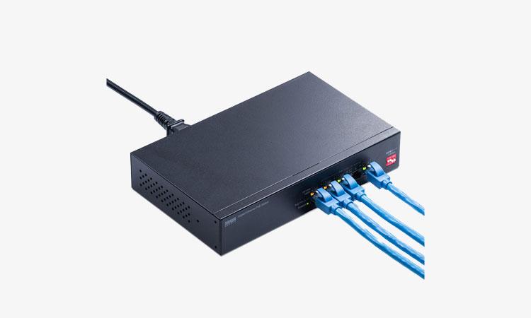 【サンワサプライ株式会社】最長180mまでPoE給電できる 長距離伝送モード搭載の電源内蔵PoEスイッチングハブを発売の画像